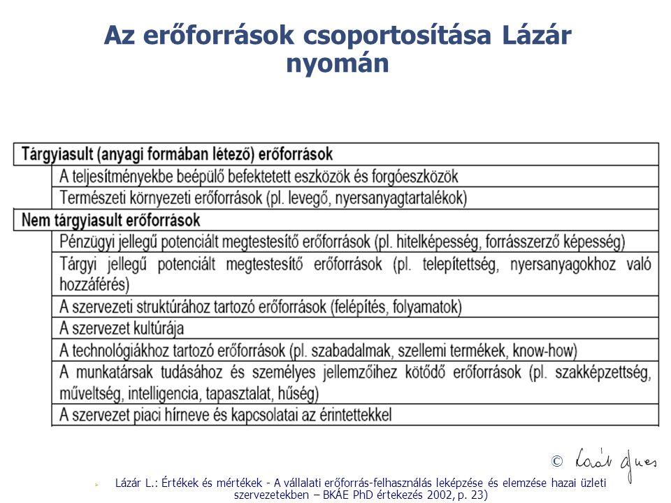 © Az erőforrások csoportosítása Lázár nyomán  Lázár L.: Értékek és mértékek - A vállalati erőforrás-felhasználás leképzése és elemzése hazai üzleti s