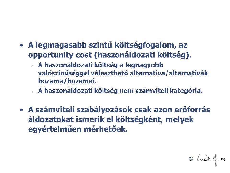 © A legmagasabb szintű költségfogalom, az opportunity cost (haszonáldozati költség).  A haszonáldozati költség a legnagyobb valószínűséggel választha