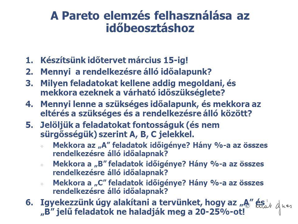 © A Pareto elemzés felhasználása az időbeosztáshoz 1.Készítsünk időtervet március 15-ig! 2.Mennyi a rendelkezésre álló időalapunk? 3.Milyen feladatoka