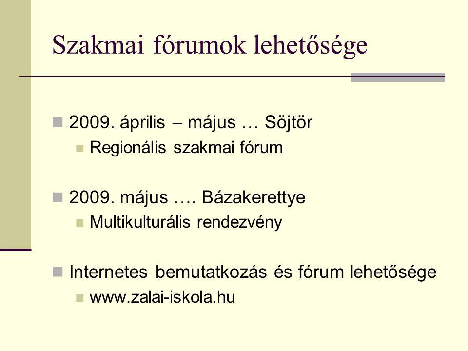 Szakmai fórumok lehetősége 2009.április – május … Söjtör Regionális szakmai fórum 2009.
