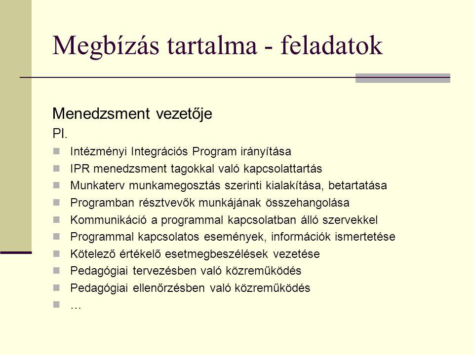 Megbízás tartalma - feladatok Menedzsment vezetője Pl.