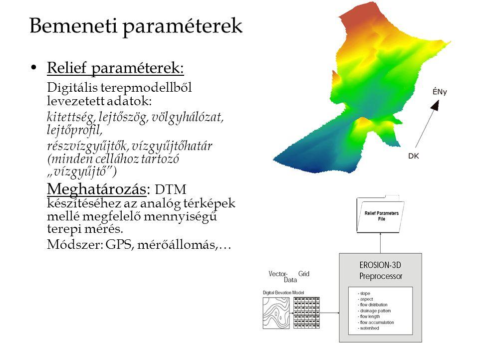 """Bemeneti paraméterek Relief paraméterek: Digitális terepmodellből levezetett adatok: kitettség, lejtőszög, völgyhálózat, lejtőprofil, részvízgyűjtők, vízgyűjtőhatár (minden cellához tartozó """"vízgyűjtő ) Meghatározás: DTM készítéséhez az analóg térképek mellé megfelelő mennyiségű terepi mérés."""