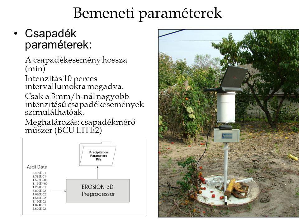 Bemeneti paraméterek Csapadék paraméterek: A csapadékesemény hossza (min) Intenzitás 10 perces intervallumokra megadva. Csak a 3mm/h-nál nagyobb inten