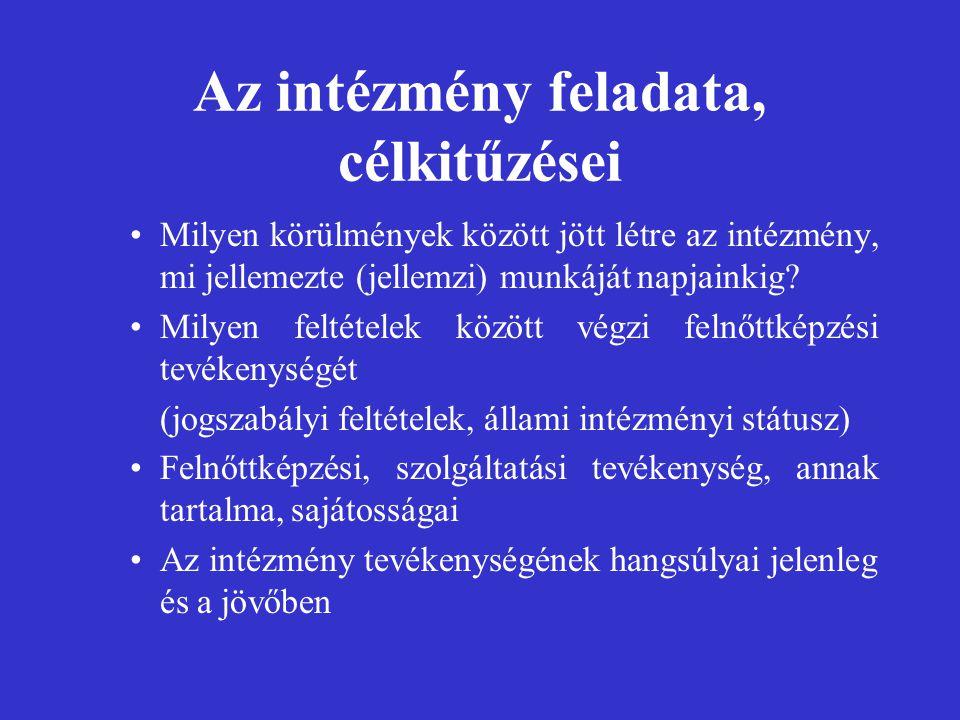 Az intézmény feladata, célkitűzései Milyen körülmények között jött létre az intézmény, mi jellemezte (jellemzi) munkáját napjainkig.