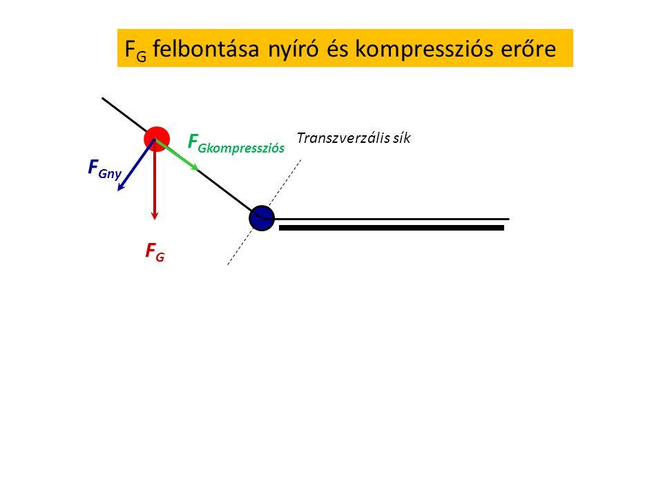     =megmért  = 180 -   =  ' A F G súlyerő húzó- és nyíróerő komponens értékeinek kiszámítása FGFG F Gnyíró = FG FG cos  F Ghúzó = F G sin 