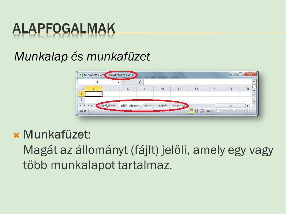  Munkafüzet: Magát az állományt (fájlt) jelöli, amely egy vagy több munkalapot tartalmaz. Munkalap és munkafüzet