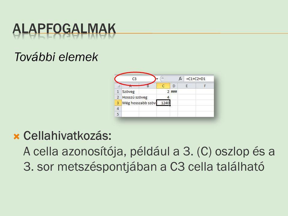  Cellahivatkozás: A cella azonosítója, például a 3. (C) oszlop és a 3. sor metszéspontjában a C3 cella található További elemek
