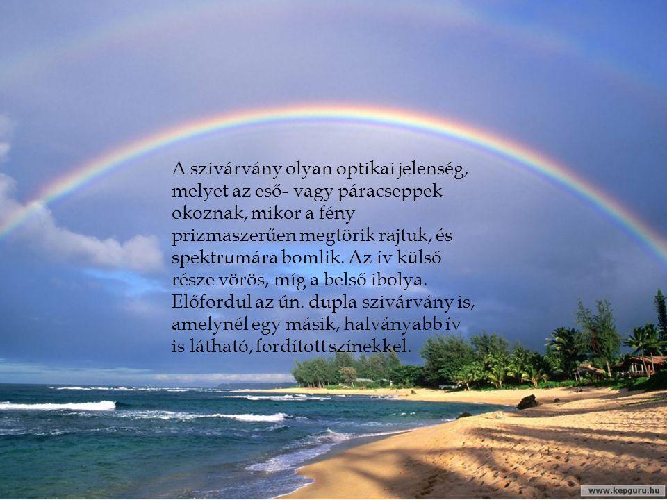 A szivárvány olyan optikai jelenség, melyet az eső- vagy páracseppek okoznak, mikor a fény prizmaszerűen megtörik rajtuk, és spektrumára bomlik. Az ív