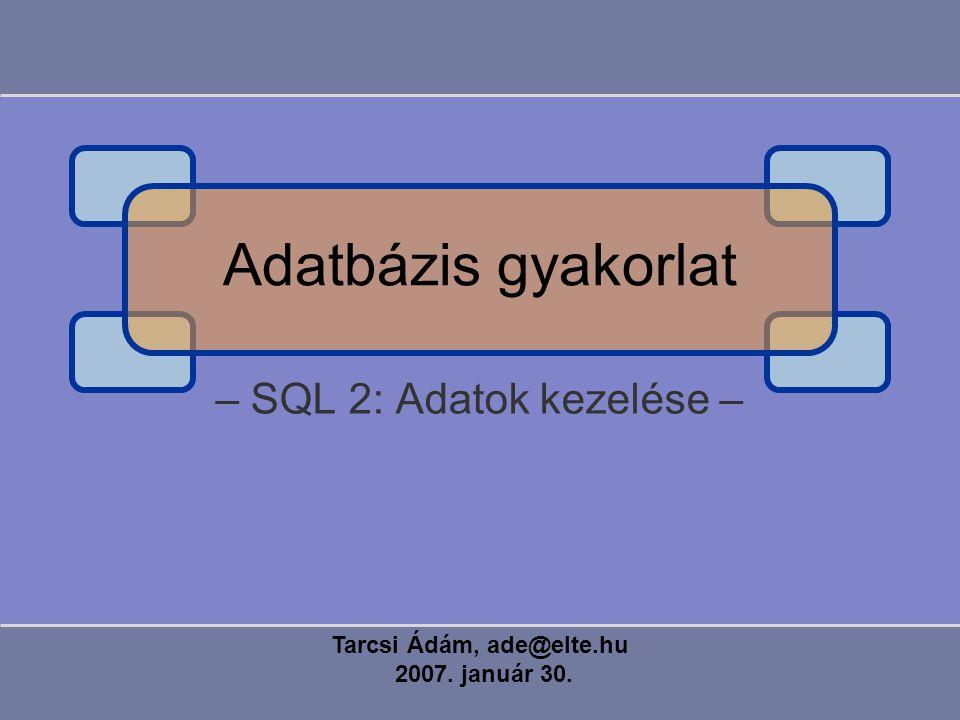 – SQL 2: Adatok kezelése – Tarcsi Ádám, ade@elte.hu 2007. január 30. Adatbázis gyakorlat