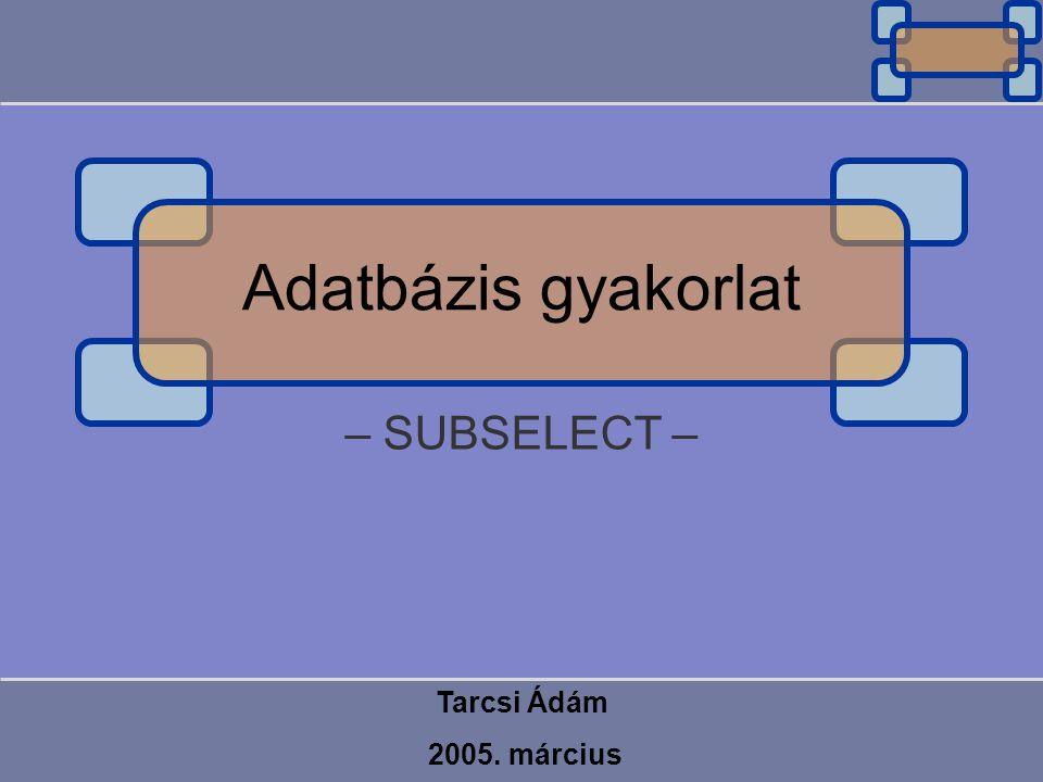 – SUBSELECT – Tarcsi Ádám 2005. március Adatbázis gyakorlat