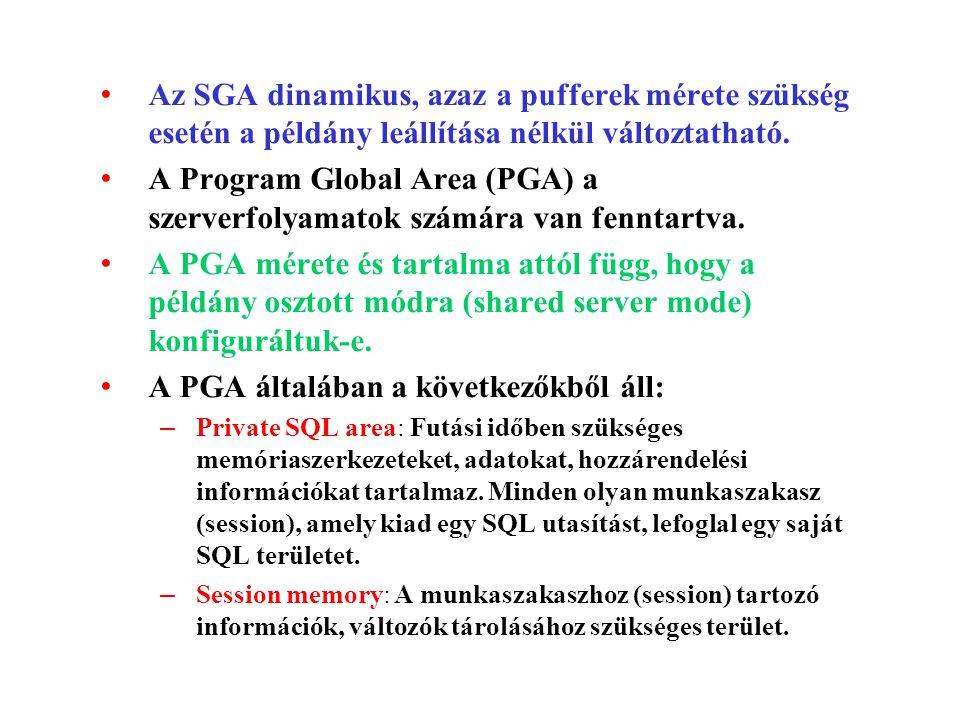 Az SGA dinamikus, azaz a pufferek mérete szükség esetén a példány leállítása nélkül változtatható.