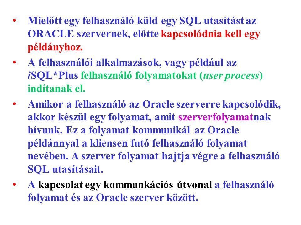 Mielőtt egy felhasználó küld egy SQL utasítást az ORACLE szervernek, előtte kapcsolódnia kell egy példányhoz.