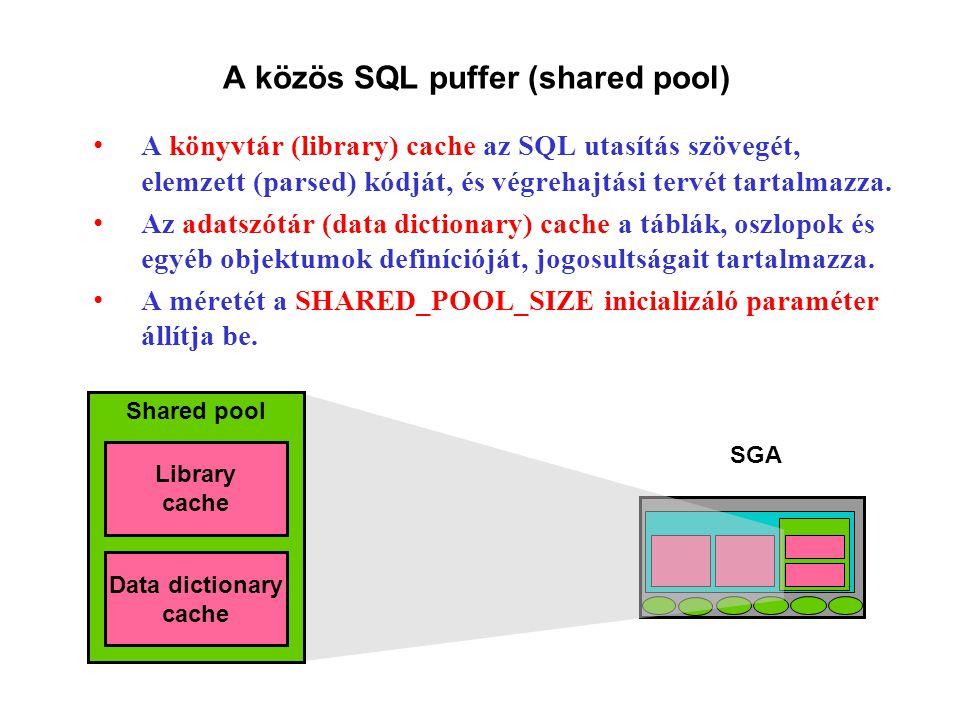 A közös SQL puffer (shared pool) A könyvtár (library) cache az SQL utasítás szövegét, elemzett (parsed) kódját, és végrehajtási tervét tartalmazza.