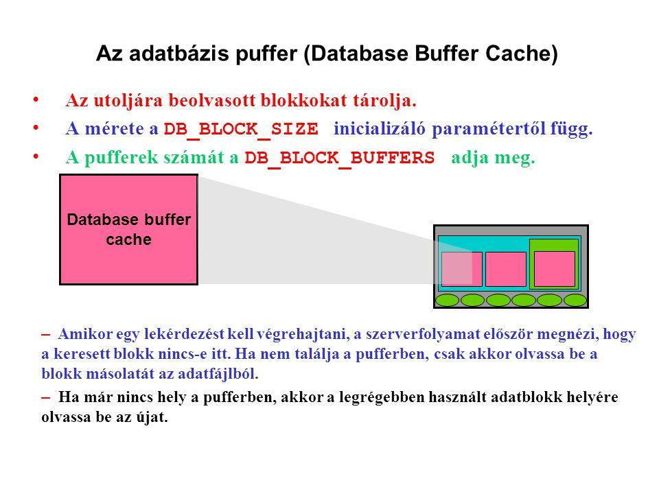 Az adatbázis puffer (Database Buffer Cache) Az utoljára beolvasott blokkokat tárolja.
