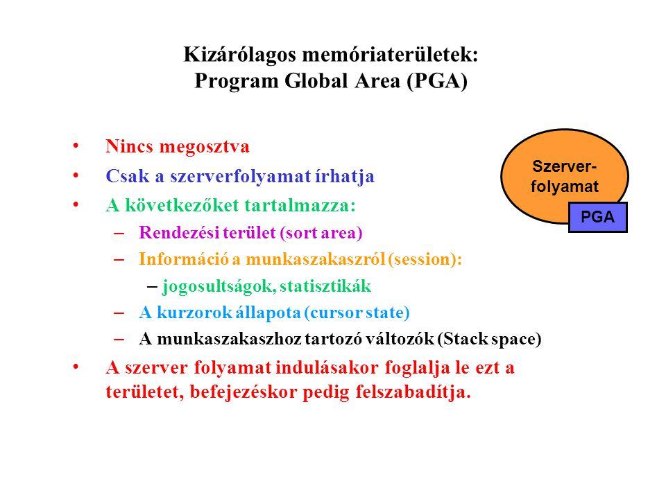 Kizárólagos memóriaterületek: Program Global Area (PGA) Nincs megosztva Csak a szerverfolyamat írhatja A következőket tartalmazza: – Rendezési terület (sort area) – Információ a munkaszakaszról (session): – jogosultságok, statisztikák – A kurzorok állapota (cursor state) – A munkaszakaszhoz tartozó változók (Stack space) A szerver folyamat indulásakor foglalja le ezt a területet, befejezéskor pedig felszabadítja.