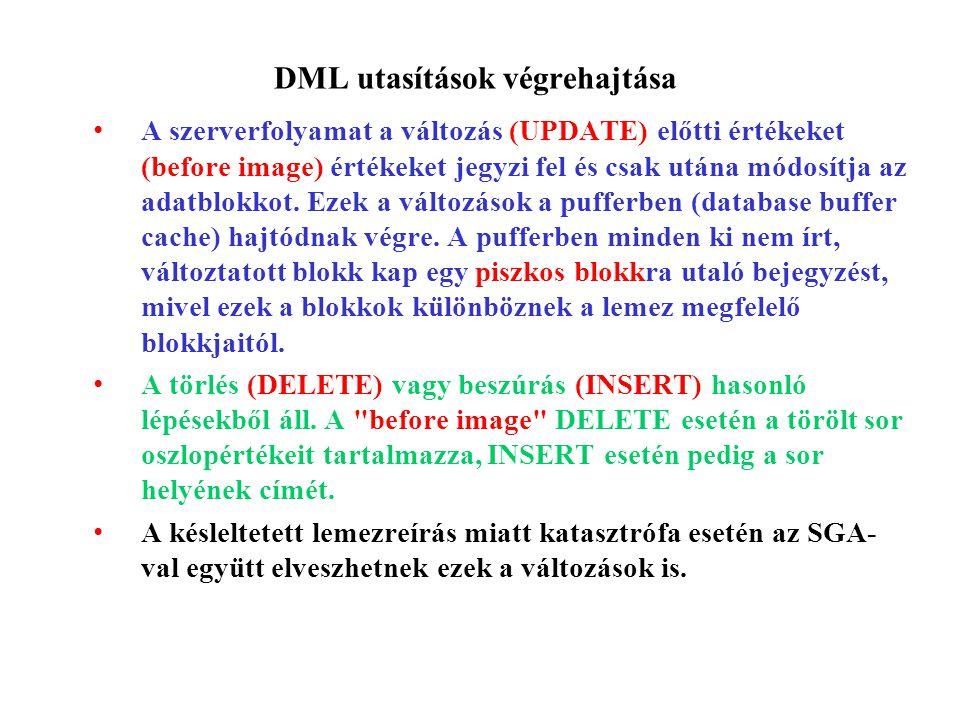 DML utasítások végrehajtása A szerverfolyamat a változás (UPDATE) előtti értékeket (before image) értékeket jegyzi fel és csak utána módosítja az adatblokkot.