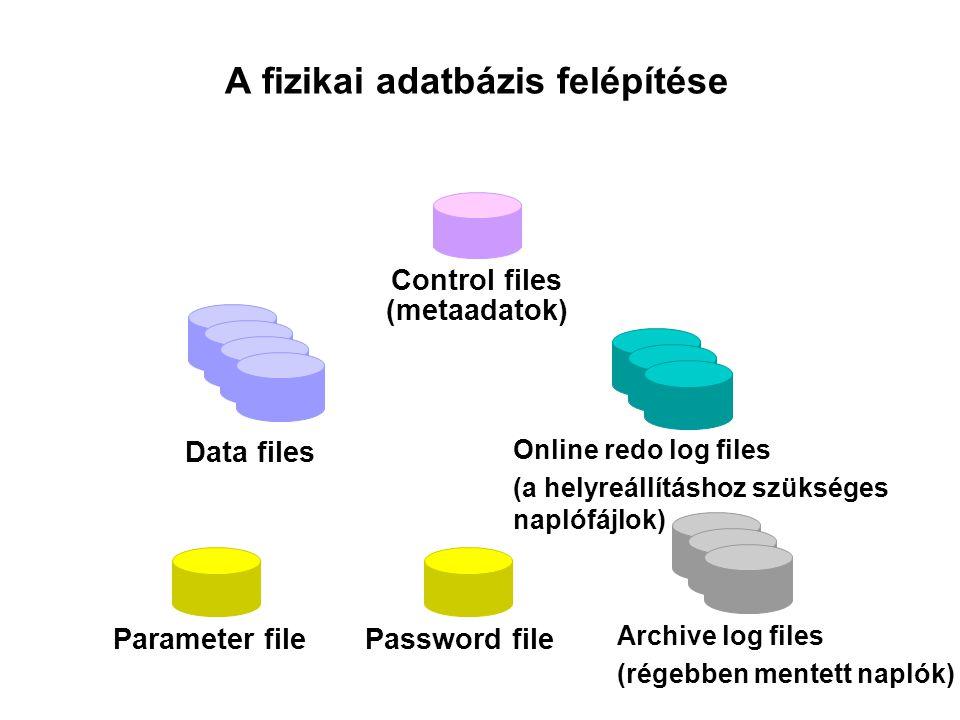 A vezérlő fájlok (Control files) A példány indításakor az adatbázis rákapcsolásához (mount) be kell olvasni a vezérlő fájlokat.