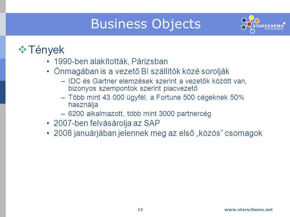 """www.starschema.net 13 Business Objects  Tények 1990-ben alakították, Párizsban Önmagában is a vezető BI szállítók közé sorolják –IDC és Gartner elemzések szerint a vezetők között van, bizonyos szempontok szerint piacvezető –Több mint 43 000 ügyfél, a Fortune 500 cégeknek 50% használja –6200 alkalmazott, több mint 3000 partnercég 2007-ben felvásárolja az SAP 2008 januárjában jelennek meg az első """"közös csomagok"""