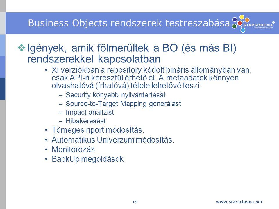 www.starschema.net 19 Business Objects rendszerek testreszabása  Igények, amik fölmerültek a BO (és más BI) rendszerekkel kapcsolatban Xi verziókban a repository kódolt bináris állományban van, csak API-n keresztül érhető el.