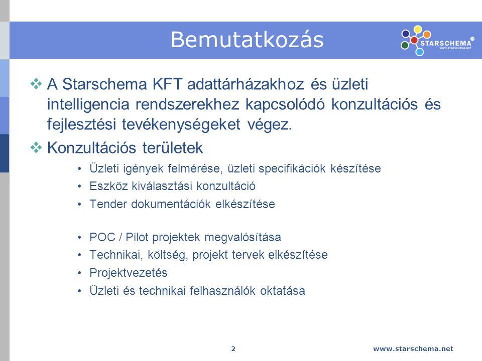 www.starschema.net 3 Bemutatkozás  Fejlesztési területek Adattárházas / BI rendszerek bevezetése, integrációja, üzemeltetése Adattárházas / BI alkalmazások fejlesztése az üzleti igények alapján, komplett tervezési, elemzési megoldások megvalósítása Adattárházas / BI rendszerek és alkalmazások 1-2-3rd level supportja Meglévő adattárházas / BI rendszerek felmérése, elemzése, auditálása, source-to-target mapping és adatfelhasználási információk kigyűjtése saját fejlesztésű szoftveres megoldásunkkal (Business Objects TM és Oracle TM rendszerekből) Adattárházas / BI rendszerek és alkalmazások ügyfél igények szerinti customizációja, testre szabása, egyedi funkciók, kiterjesztések integrációja (főleg Business Objects Xi Java és VB API használatával)