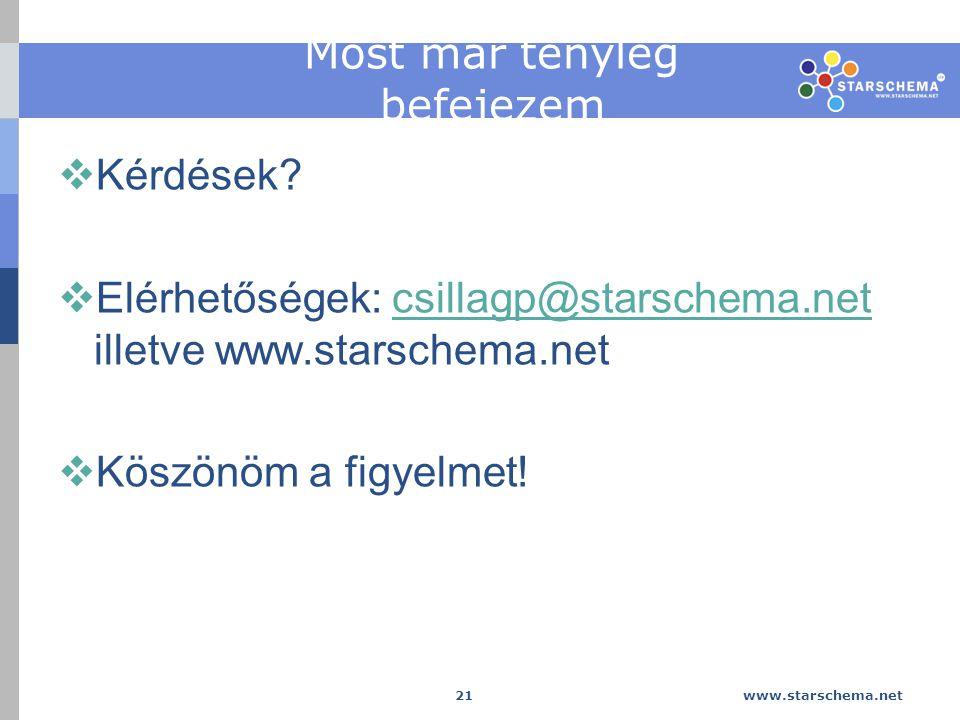 www.starschema.net 21 Most már tényleg befejezem  Kérdések.