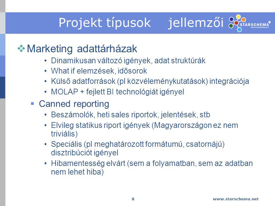 www.starschema.net 8 Projekt típusok jellemzői  Marketing adattárházak Dinamikusan változó igények, adat struktúrák What if elemzések, idősorok Külső adatforrások (pl közvéleménykutatások) integrációja MOLAP + fejlett BI technológiát igényel  Canned reporting Beszámolók, heti sales riportok, jelentések, stb Elvileg statikus riport igények (Magyarországon ez nem triviális) Speciális (pl meghatározott formátumú, csatornájú) disztribúciót igényel Hibamentesség elvárt (sem a folyamatban, sem az adatban nem lehet hiba)