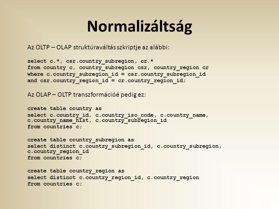 Normalizáltság Az OLTP – OLAP struktúraváltás szkriptje az alábbi: select c.*, csr.country_subregion, cr.* from country c, country_subregion csr, coun