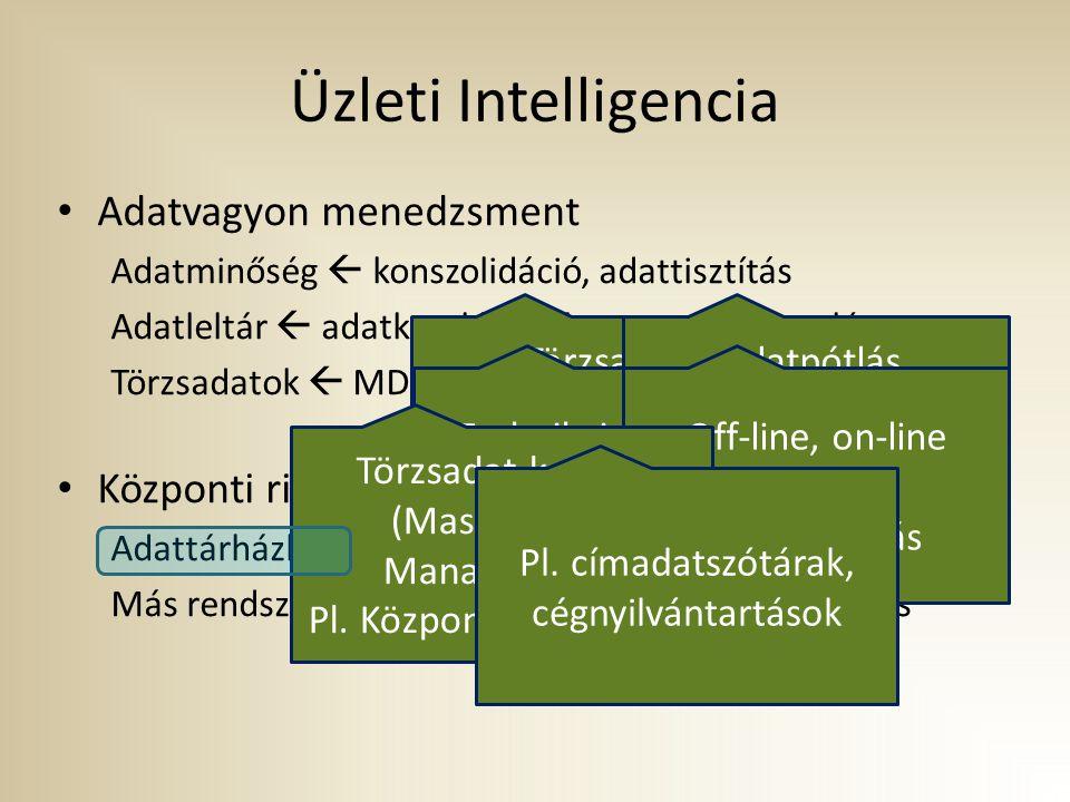 Üzleti Intelligencia Adatvagyon menedzsment Adatminőség  konszolidáció, adattisztítás Adatleltár  adatkatalógusok, metaadat-kezelés Törzsadatok  MDM,egyéb törzsadat nyilvántartások Központi riportfejlesztés és riportmenedzsment Adattárházból  integrált, historikus forrásból Más rendszerekből  forrásrendszerből, adatbázis linken keresztül Törzsadat mulplikátumok felderítése, számuk csökkentése Adatpótlás, helyesbítés érvényes adatokkal Zajok kiszűrése Technikai és üzleti metaadatok nyilvántartása Off-line, on-line metaadat karbantartás Törzsadat-kezelés (Master Data Management) Pl.