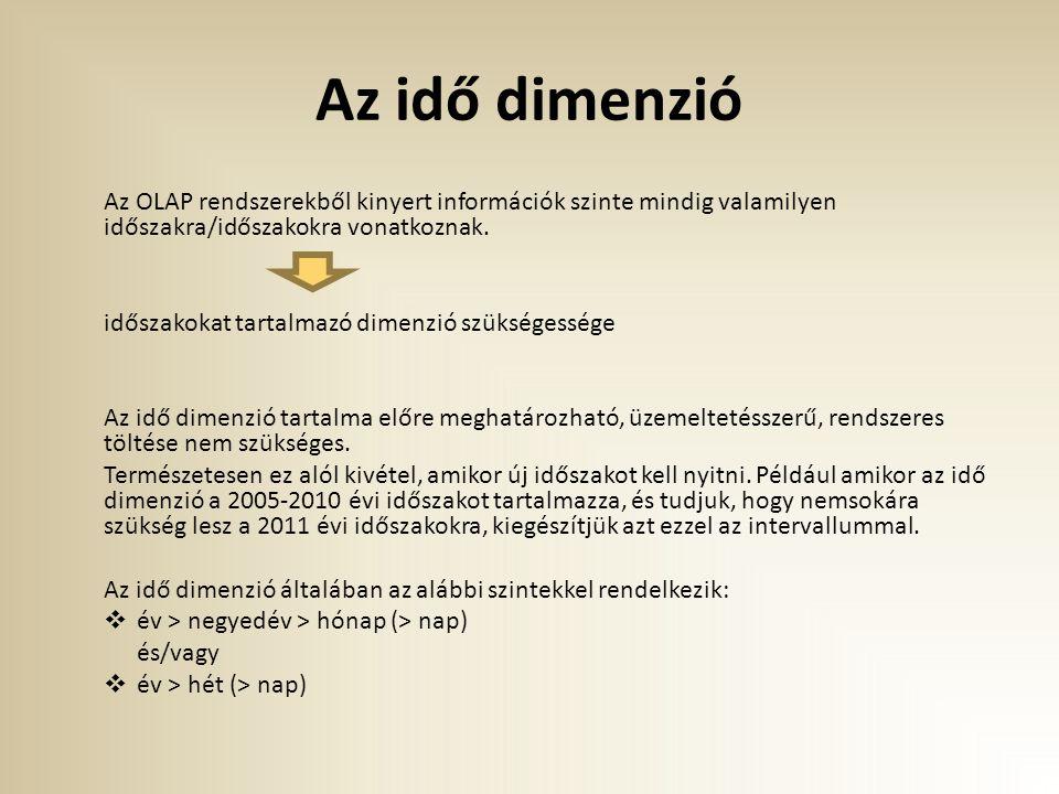 Az idő dimenzió Az OLAP rendszerekből kinyert információk szinte mindig valamilyen időszakra/időszakokra vonatkoznak. időszakokat tartalmazó dimenzió