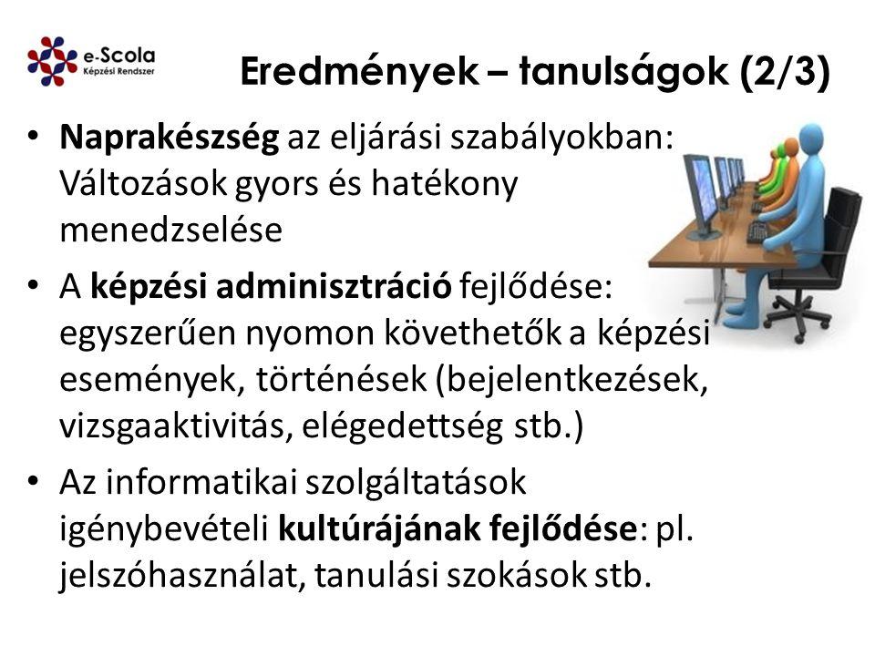Eredmények – tanulságok (2/3) Naprakészség az eljárási szabályokban: Változások gyors és hatékony menedzselése A képzési adminisztráció fejlődése: egy