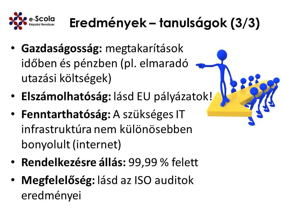 Eredmények – tanulságok (3/3) Gazdaságosság: megtakarítások időben és pénzben (pl. elmaradó utazási költségek) Elszámolhatóság: lásd EU pályázatok! Fe