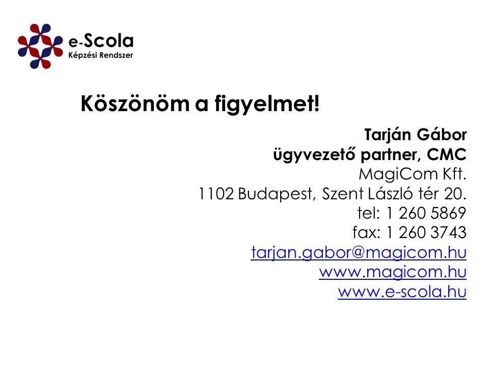 Tarján Gábor ügyvezető partner, CMC MagiCom Kft. 1102 Budapest, Szent László tér 20. tel: 1 260 5869 fax: 1 260 3743 tarjan.gabor@magicom.hu www.magic