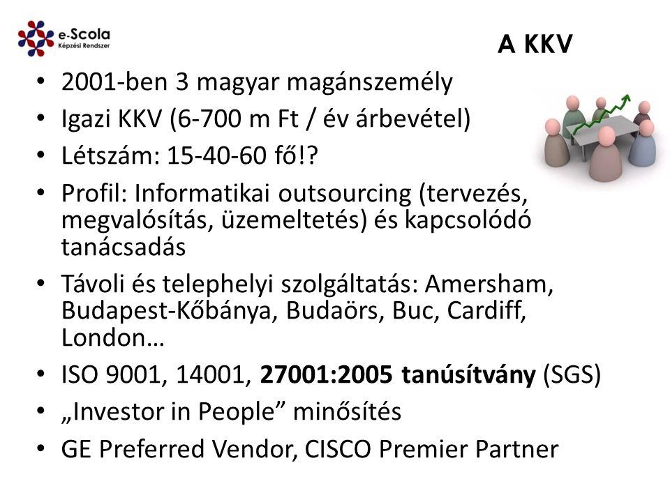 A KKV 2001-ben 3 magyar magánszemély Igazi KKV (6-700 m Ft / év árbevétel) Létszám: 15-40-60 fő!? Profil: Informatikai outsourcing (tervezés, megvalós