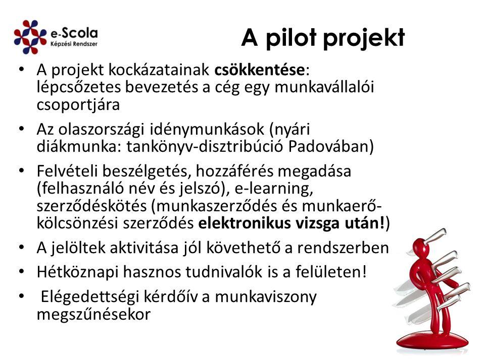 A pilot projekt A projekt kockázatainak csökkentése: lépcsőzetes bevezetés a cég egy munkavállalói csoportjára Az olaszországi idénymunkások (nyári di
