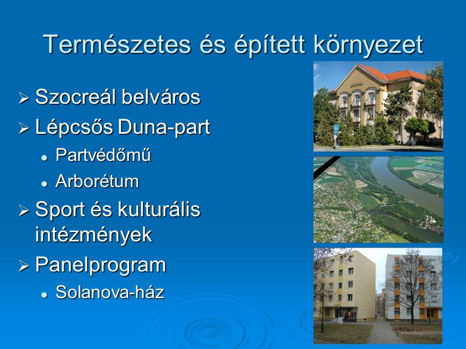 Természetes és épített környezet  Szocreál belváros  Lépcsős Duna-part Partvédőmű Partvédőmű Arborétum Arborétum  Sport és kulturális intézmények 