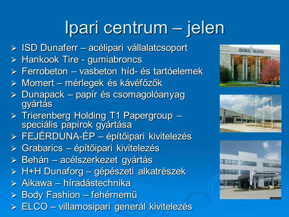 Ipari centrum – jelen  ISD Dunaferr – acélipari vállalatcsoport  Hankook Tire - gumiabroncs  Ferrobeton – vasbeton híd- és tartóelemek  Momert – m