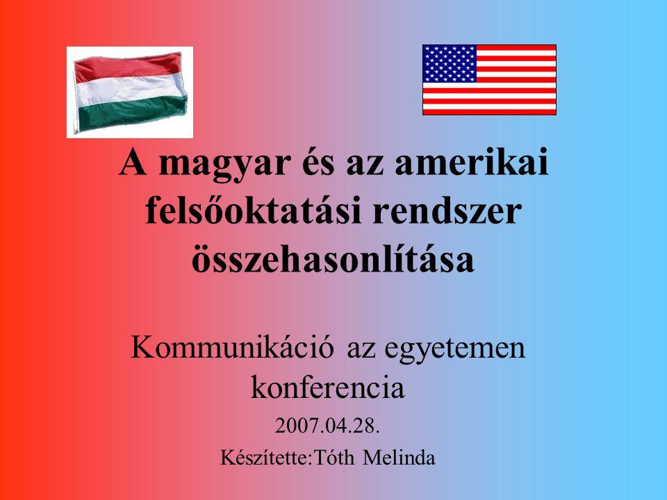 A bologna rendszer szükségessége Magyarországon és az amerikai helyzet M.o: Felsőoktatás jellemzői -misszió váltás kell -Állam visszavonulása -Társadalmi nyitottság -Külső értékelés megjelenése -Irányítás váltás -LLL -Tömegesedés -Rangsorolás+verseny USA: - nem kell misszió váltás - a szövetségi államnak kis szerepe van -társadalmi igények keltették életre a felsőoktatást -Kezdetektől külső értékelés -Életképes, jól funkcionáló irányítás -LLL már az 1900-as évek közepétől -Tömegképzés megoldott -A rangsorolás és versengés megszokott