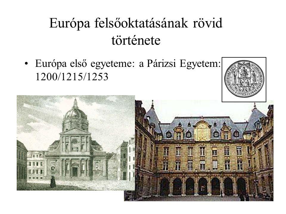 Európa felsőoktatásának rövid története Egy másik modell: A Bolognai Egyetem: 1363