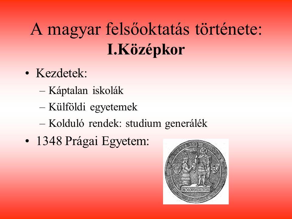 A magyar felsőoktatás története: I.Középkor 1367 Pécs: Nagy Lajos király-V.Orbán pápa