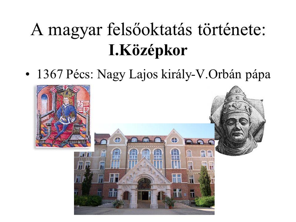 A magyar felsőoktatás története: I.Középkor 1395 Óbudai Egyetem: Luxemburgi Zsigmond