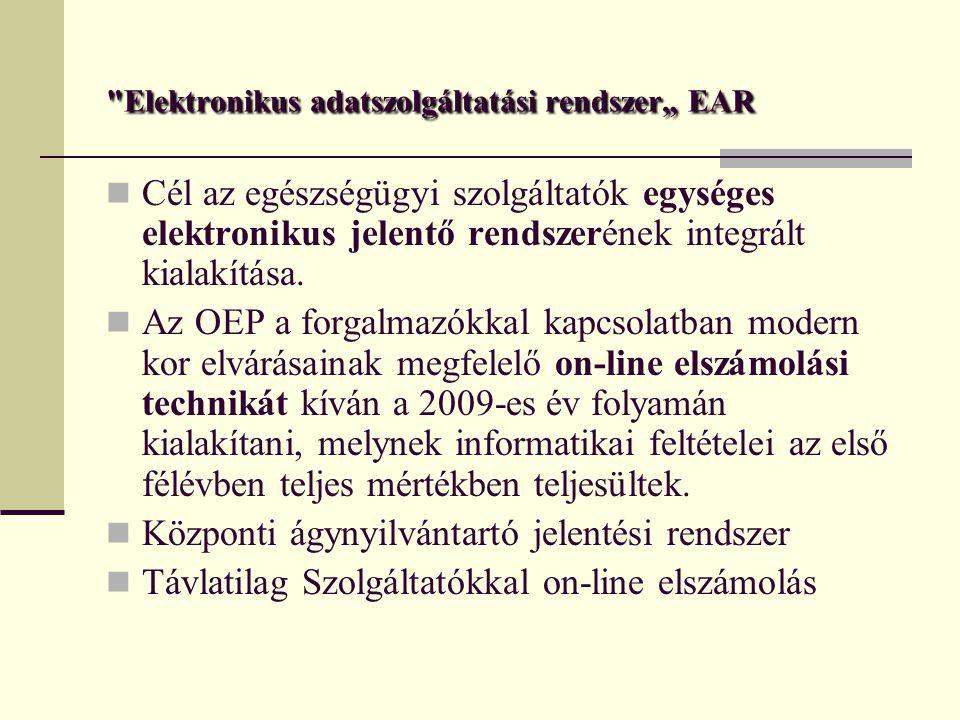 """Elektronikus adatszolgáltatási rendszer"""" EAR Cél az egészségügyi szolgáltatók egységes elektronikus jelentő rendszerének integrált kialakítása."""