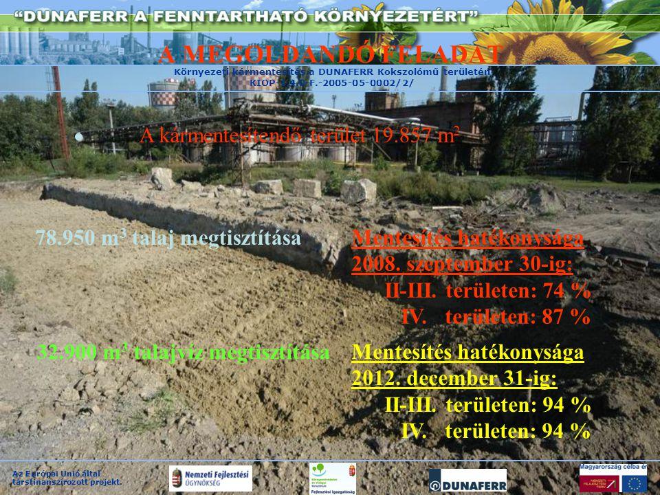 Környezeti kármentesítés a DUNAFERR Kokszolómű területén KIOP-1.4.0-F.-2005-05-0002/2/ Az Európai Unió által társfinanszírozott projekt.