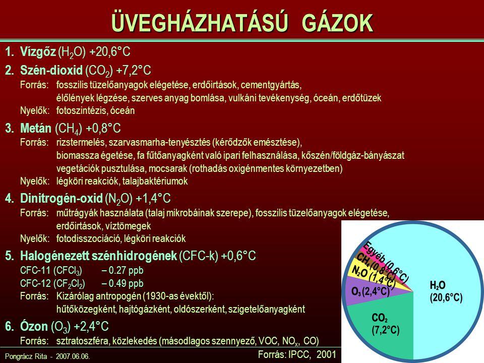 Pongrácz Rita - 2007.06.06. ÜVEGHÁZHATÁSÚ GÁZOK 1.Vízgőz (H 2 O) +20,6°C 2.Szén-dioxid (CO 2 ) +7,2°C Forrás:fosszilis tüzelőanyagok elégetése, erdőir