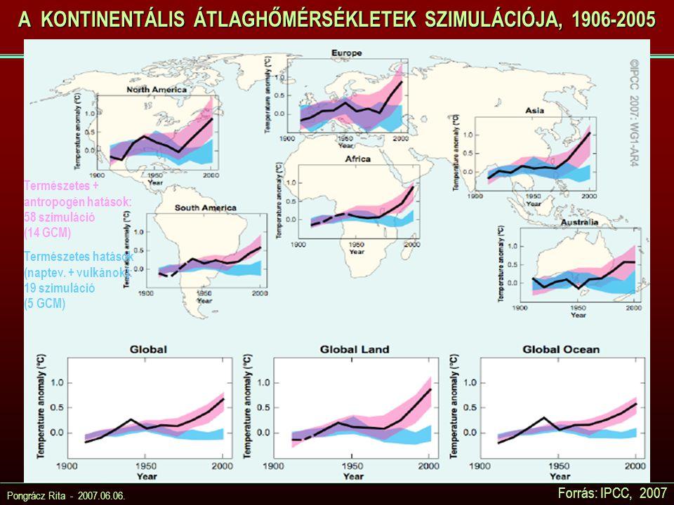 Pongrácz Rita - 2007.06.06. Forrás: IPCC, 2007 A KONTINENTÁLIS ÁTLAGHŐMÉRSÉKLETEK SZIMULÁCIÓJA, 1906-2005 Természetes + antropogén hatások: 58 szimulá