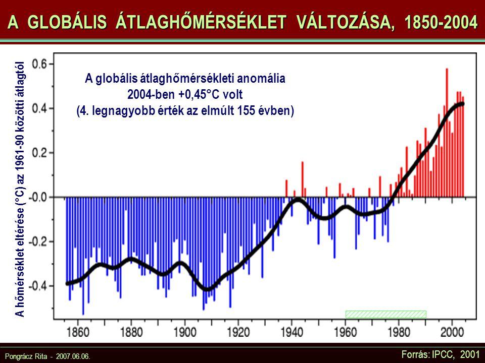 Pongrácz Rita - 2007.06.06. A GLOBÁLIS ÁTLAGHŐMÉRSÉKLET VÁLTOZÁSA, 1850-2004 A hőmérséklet eltérése (°C) az 1961-90 közötti átlagtól A globális átlagh