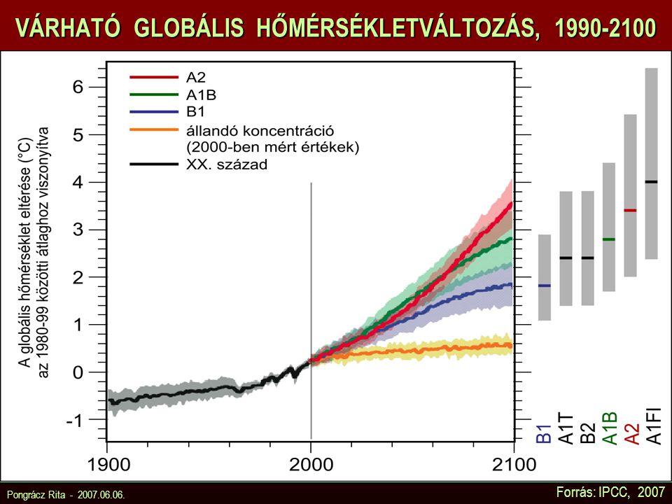 Pongrácz Rita - 2007.06.06. Forrás: IPCC, 2007 VÁRHATÓ GLOBÁLIS HŐMÉRSÉKLETVÁLTOZÁS, 1990-2100