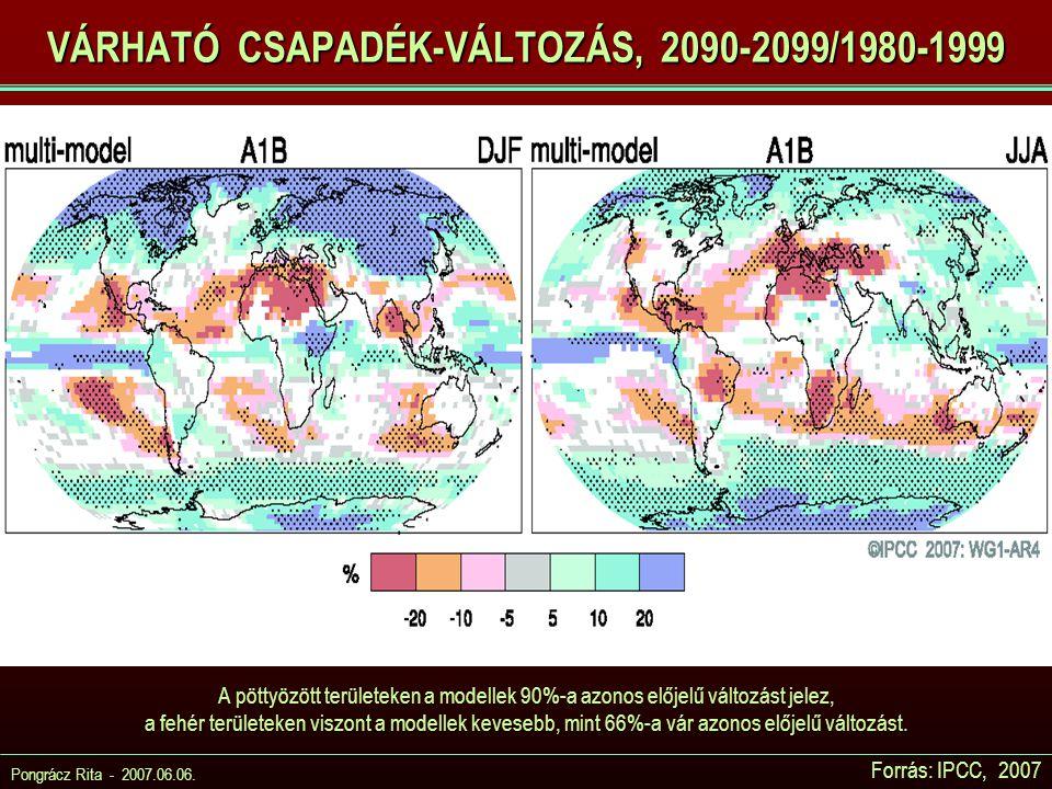 Pongrácz Rita - 2007.06.06. Forrás: IPCC, 2007 VÁRHATÓ CSAPADÉK-VÁLTOZÁS, 2090-2099/1980-1999 A pöttyözött területeken a modellek 90%-a azonos előjelű