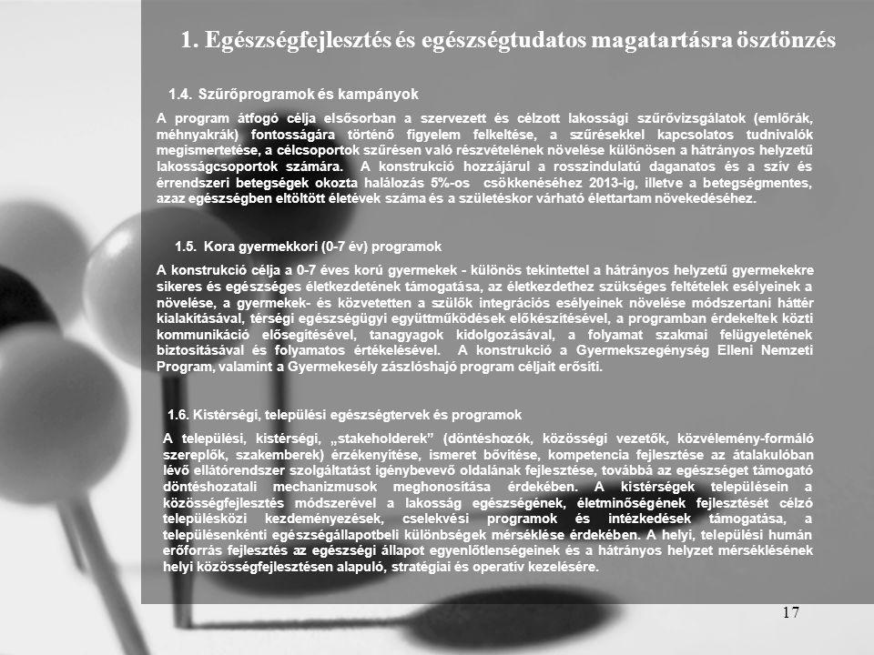 17 1.4. Szűrőprogramok és kampányok A program átfogó célja elsősorban a szervezett és célzott lakossági szűrővizsgálatok (emlőrák, méhnyakrák) fontoss