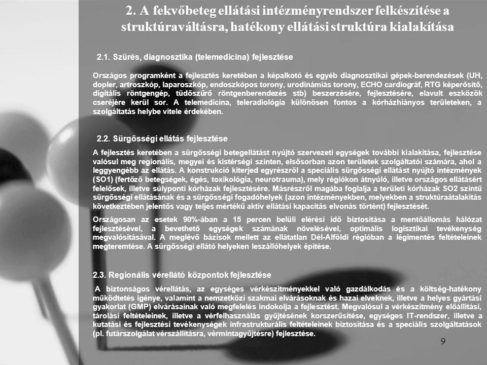 9 2. A fekvőbeteg ellátási intézményrendszer felkészítése a struktúraváltásra, hatékony ellátási struktúra kialakítása 2.1. Szűrés, diagnosztika (tele