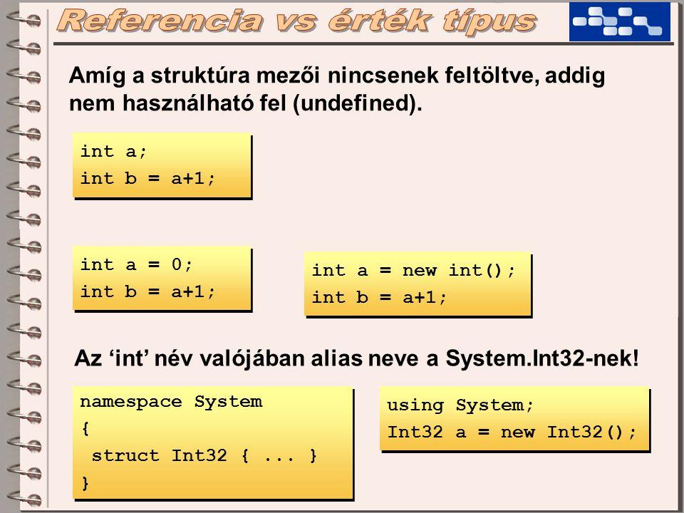 Amíg a struktúra mezői nincsenek feltöltve, addig nem használható fel (undefined).